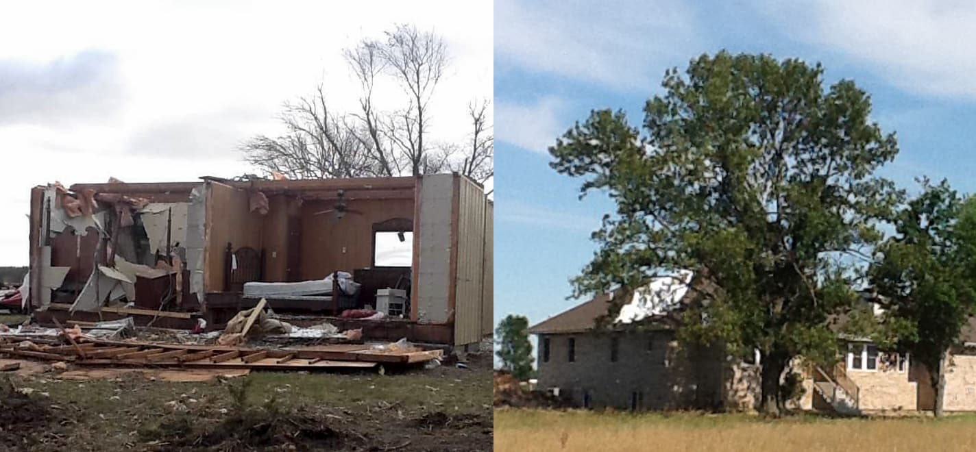The Luevano first and second home with tornado damage.