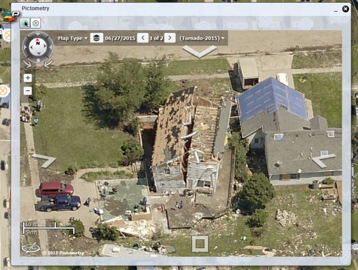 The assessor uses oblique imagery of damage to see if homes are destroyed.