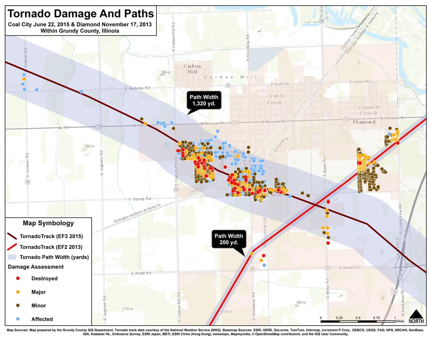 Tornado paths and damage from the Grundy County storms.