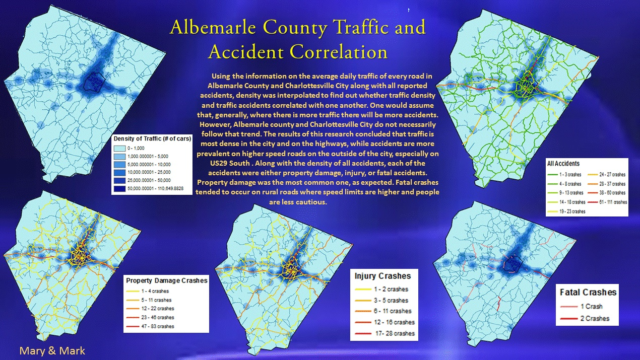 Mary Davis mapped traffic in Albemarle County to correlate traffic density with accidents