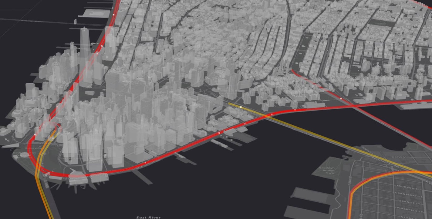 This is a static capture of a map that was built to support the Vision Zero Initiative in New York City