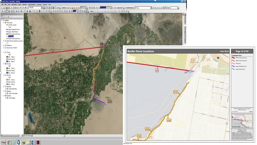 The GIS and PDF maps compared
