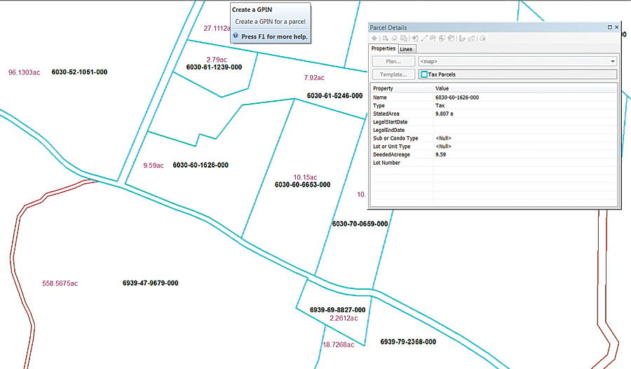 Esri's parcel fabric automatically generates a GPIN