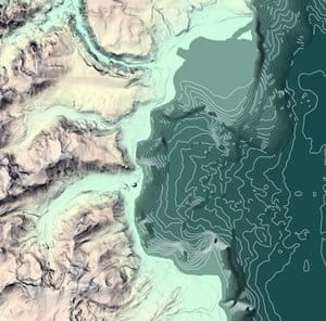 Lake Tahoe and its shoreline with a hand-drawn style hillshade and illuminated contours. Map by Ken Field.