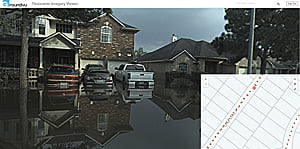 The Panoramic Imagery Viewer lets users click on an orange dot in the map to bring up the view of the flooding in that location.