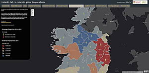 The Ireland's Call story map provides readers with information about home prices in Ireland.