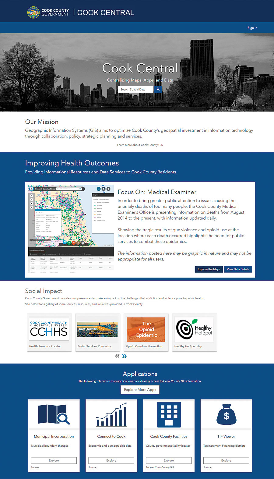 Cook Central serves as a public landing page for all the county's open spatial data and interactive mapping apps and makes it easier for partner agencies and local governments to access data.