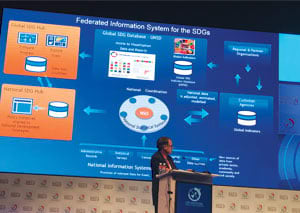 Stefan Schweinfest, director of UNSD, discussed the Federated Information System for the SDGs, also known as the SDG Hub, at the Geospatial World Forum.