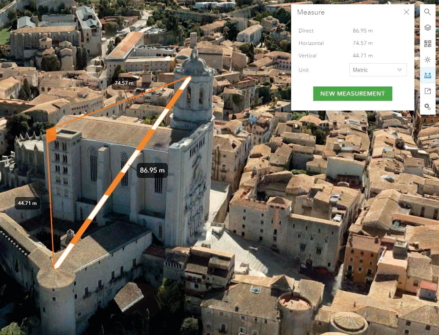 The new measurement tool in Scene Viewer allows users to dynamically calculate distances in 3D while gliding over features, terrain, buildings, or point clouds.