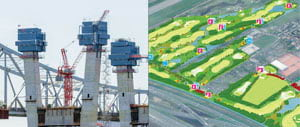 BIM gives AEC professionals detailed information about assets (left), while GIS provides them with information about assets in the context of the built and natural environment (right).