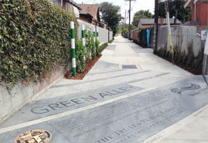 Green alleys can serve as a type of park in areas that are all built up. (Image courtesy of The Trust for Public Land.)