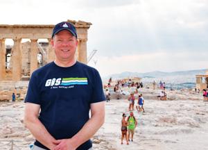 Sean Fitzpatrick wore his Esri T-shirt Acropolis in Athens, Greece