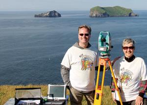 Brian Hall and Kathryn Scott wore their Esri shirts to Vestmannaeyjar Island in Iceland