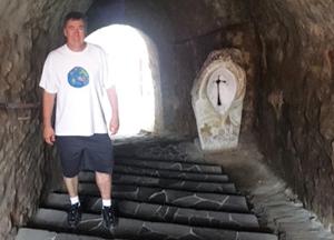 Brian Mladenich wore his Esri shirt to Nevytsky Castle in Zakarpattia Oblast, Ukraine