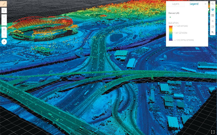 LAS is a community-developed specification for point cloud file formats. (Data courtesy of Merrick & Company, © 2011.)