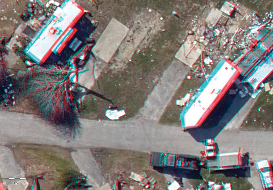 With stereo orthoimagery, which is viewed with 3D glasses, users got a better idea of where the storm knocked down trees or winds ripped the roofs off houses. (Imagery courtesy of Vexcel Imaging.)