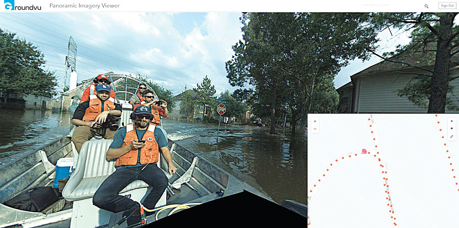 The GroundVu team rode in an airboat to capture imagery in a flooded neighborhood near Houston.