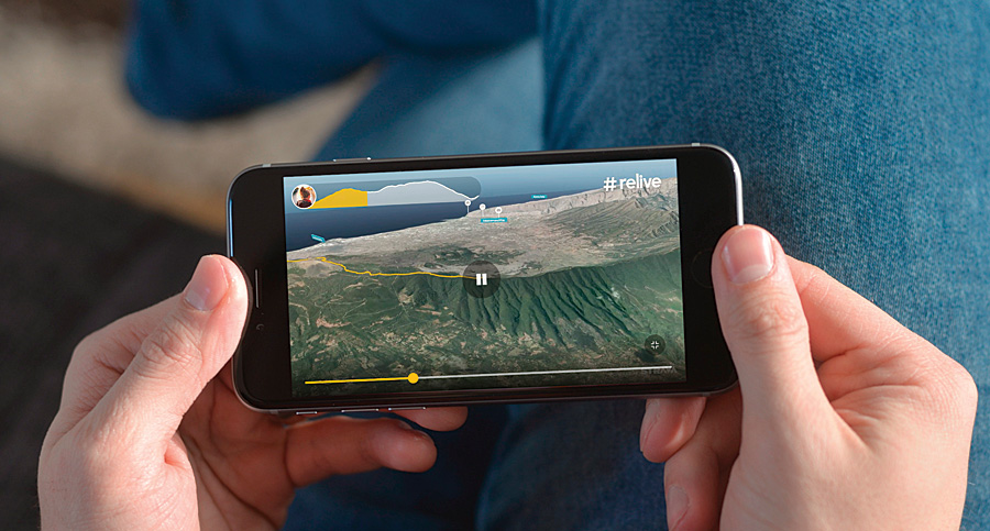 Using the Relive app, athletes can share their rides and runs via virtual 3D video tours on the Esri World Imagery basemap.