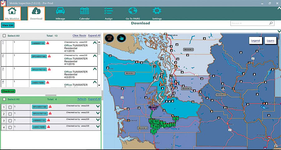 The Washington State Department of Labor and Industries' (L&I) Mobile Inspection app displays downloaded or searched inspection locations (green), as well as the inspector's starting point (purple).