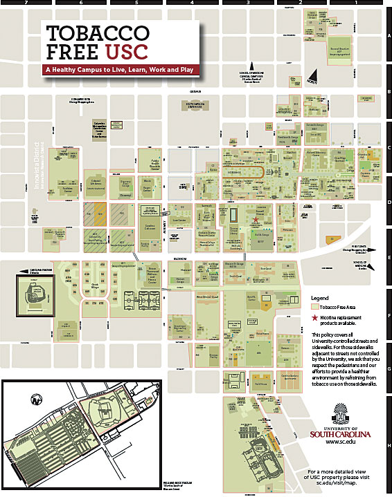 The University of South Carolina is a tobacco-free campus, though student volunteers recorded 24 tobacco-use violations during its 54 observation hours.