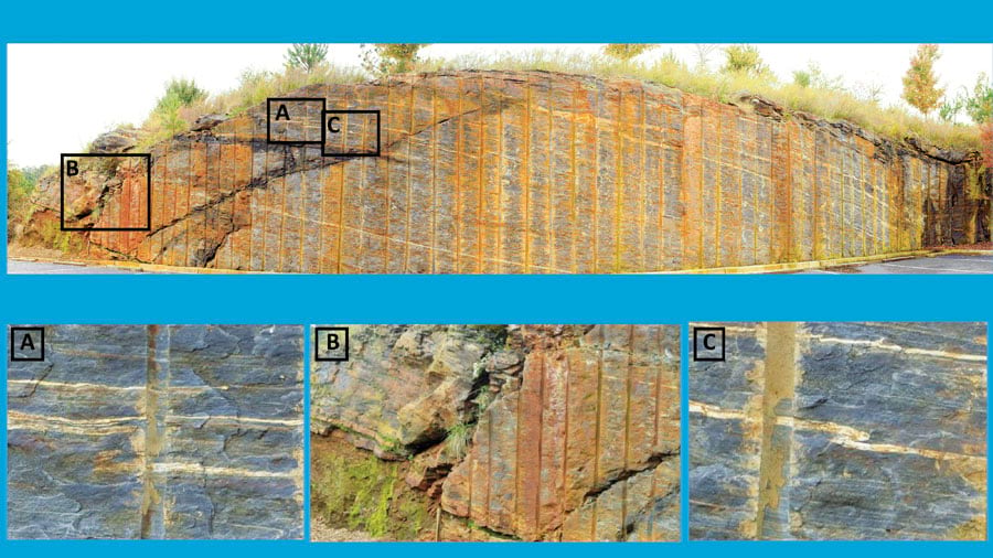 Gigapan photography of this rock outcrop in Duluth, Georgia, allows users to see all its faults, folds, and veins.