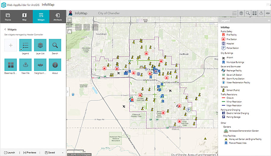 The City of Chandler, Arizona, used Web AppBuilder for ArcGIS to develop InfoMap, which displays information about the city's facilities on a digital map.