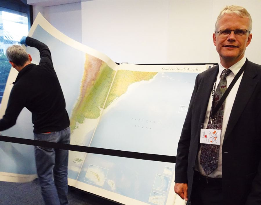 Menno-Jan Kraak with the world's biggest atlas at the National Library of New Zealand in Wellington.