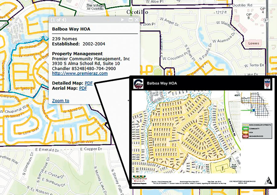 The Neighborhoods layer in InfoMap shows the location of each neighborhood that is registered with the city.