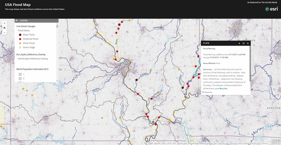 Readers get to see examples of real-time GIS. This map includes current flood conditions based on live data supplied by the National Weather Service