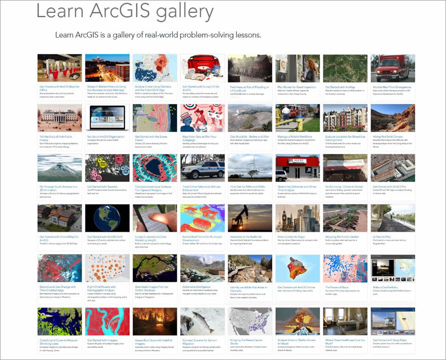 The book incorporates Learn ArcGIS lessons that cover a wide range of topics.