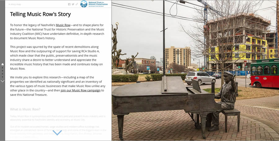 The National Trust for Historic Preservation created this Esri Story Map Journal app to raise awareness about the history of Music Row and the demolition of many music industry-related properties in this Nashville district. The photo of the statue of music producer Owen Bradley was taken by Rick Smith.