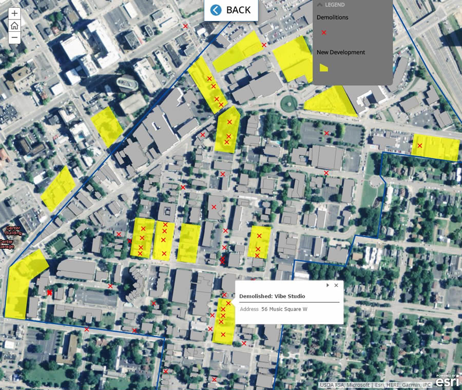 New developments, in yellow, are replacing some of the music studios.