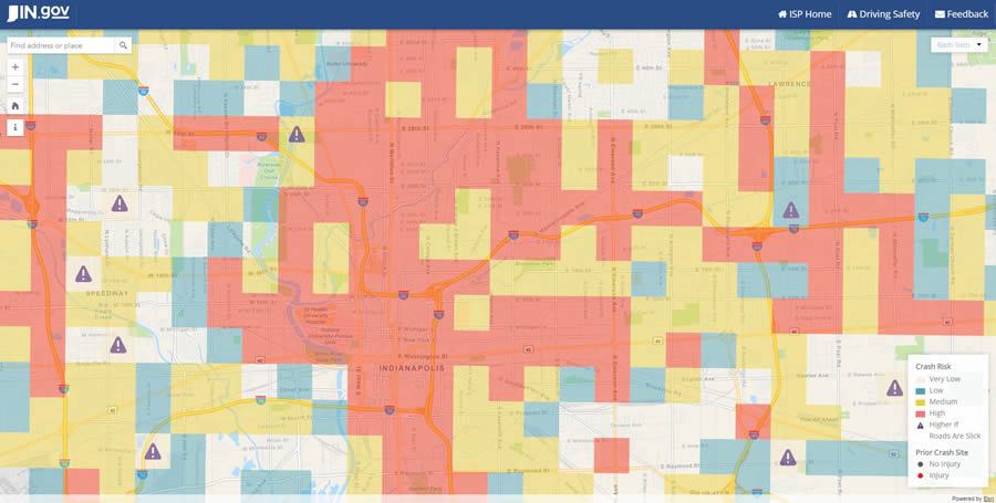 The Daily Prediction Map uses color-coded grids to shows where risk of traffic crashes are high, medium, low, and very low at various times of the day and night.