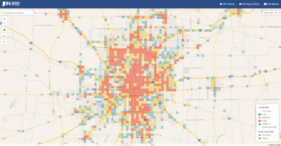 The app shows the crash risk throughout the state of Indiana.