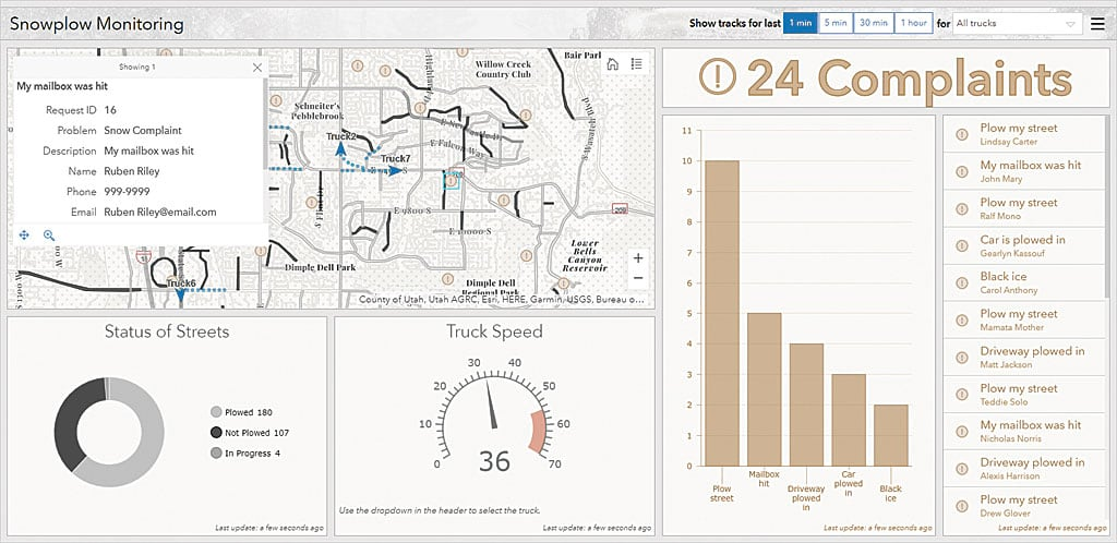 Snowplow Monitoring dashboard identifies streets that have been plowed and substance complaints