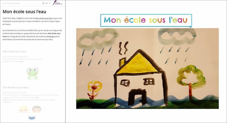 Mélanie Vallui and Laureline Gérard created this story map to educate school children about flood risk.