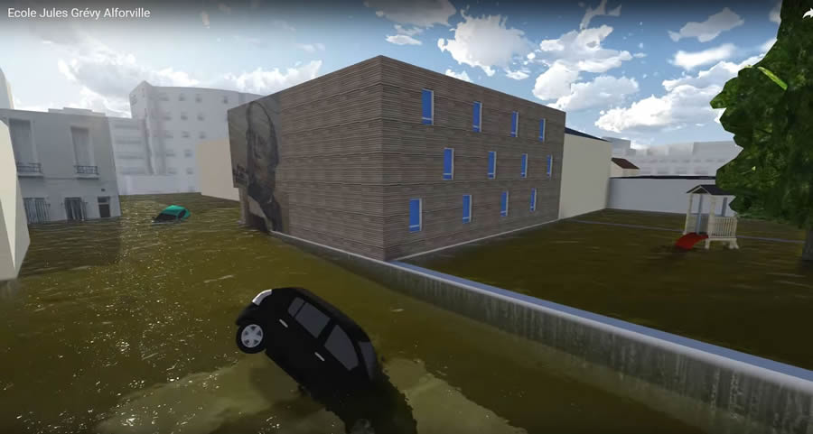 Trimble SketchUp was used to create a 3D model of a school surrounded by floodwaters.