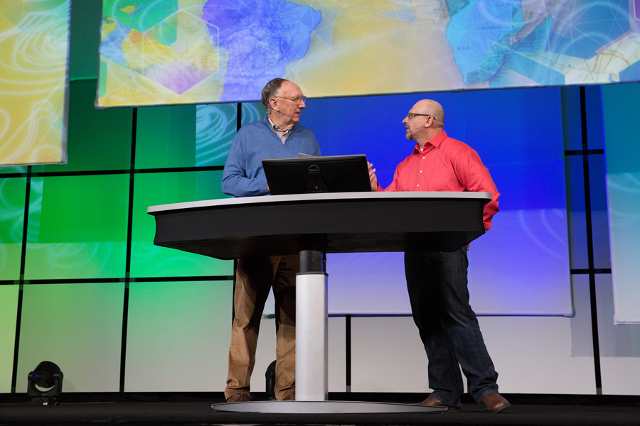 Esri president Jack Dangermond (left) joined ArcGIS program manager Jim McKinney on stage to talk about The Science of Where.