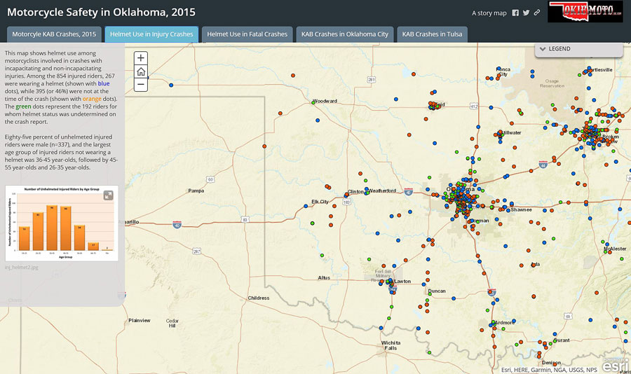 OHP also uses Esri Story Maps apps to tell stories about important issues such as motorcycle safety. Story map created by Amy Graham, Oklahoma Highway Safety Office.