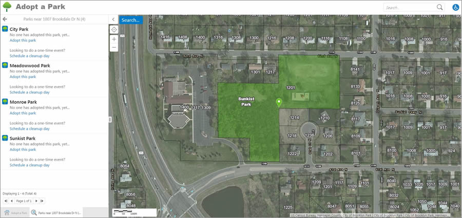A search for parks near 1007 Brookdale Drive North turned up four nearby parks that are currently available to adopt, including Sunkist Park.