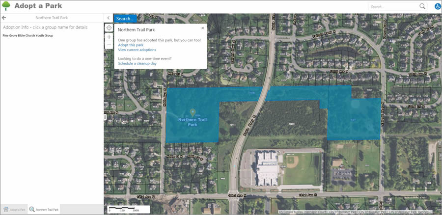 The app shows that Northern Trail Park has been adopted.