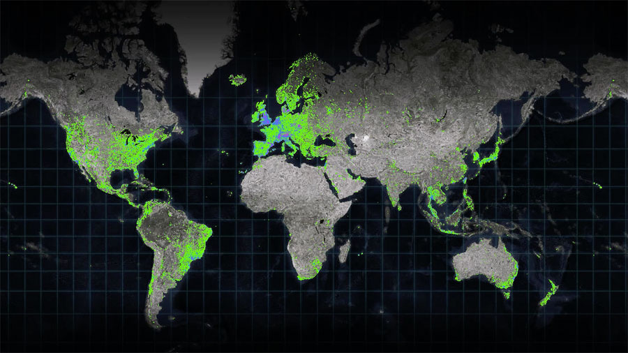 This map, created by Relive and Esri Netherlands, shows where cycling, running, and hiking videos have been made globally. Green symbolizes cycling, blue symbolizes running, and purple symbolizes hiking.
