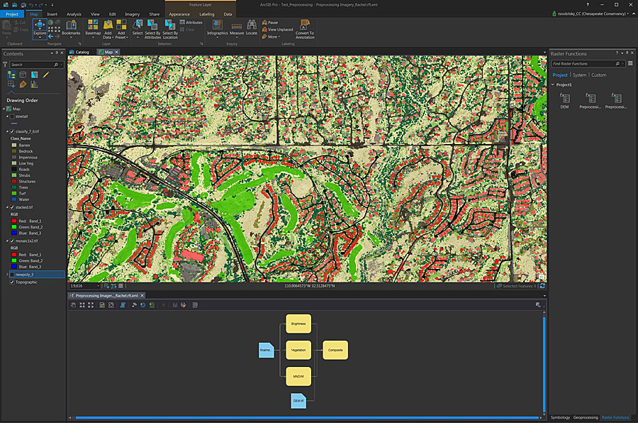 Chesapeake Conservancy uses raster functions in ArcGIS Pro to preprocess and classify raw imagery, turning it into land cover that helps with management tasks like green infrastructure planning.