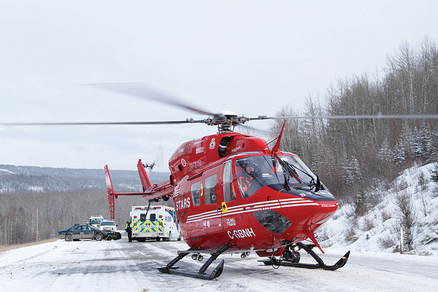STARS uses GIS to help plan missions, which often take helicopters to rural areas to pick up patients. Photo courtesy of STARS/Mark Mennie.
