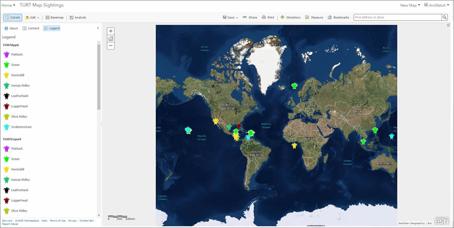 This map, available to view in ArcGIS Online, shows the sea turtle species and locations of sightings that have been documented by the TURT app users around the world.