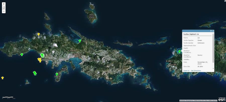 A pop-up provides details of a sea turtle sighting on the island of Saint John, U.S. Virgin Islands.