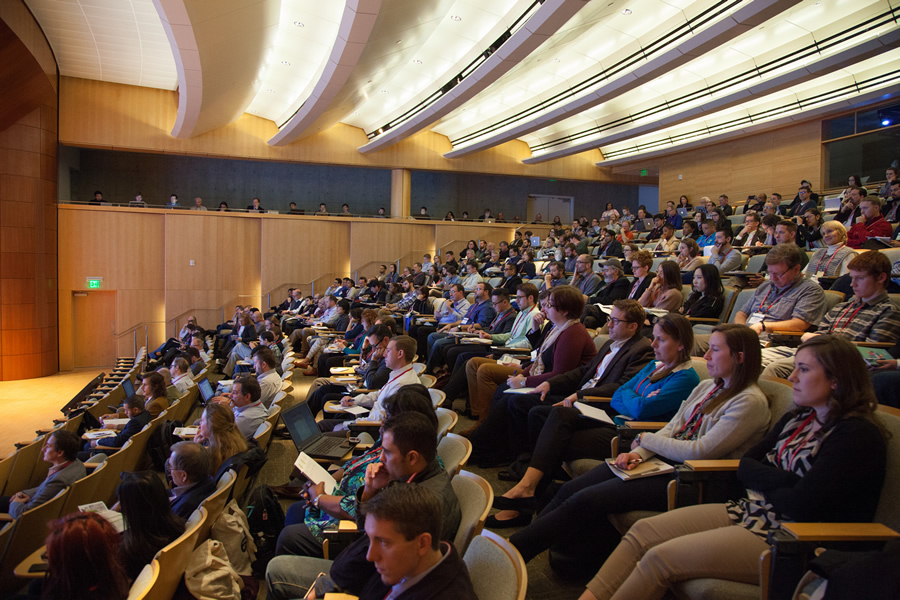 More than 220 people gathered at the Esri auditorium to listen to geodesign presentations.