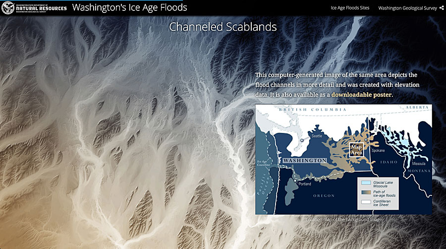 Daniel Coe delved into an interesting topic for his story map: flooding during the ice age that carved out unique features in the State of Washington.