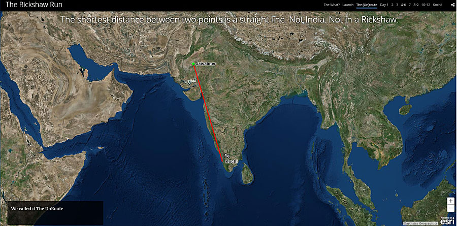 The Counsells had planned to take a direct route from Jaisalmer to Kochi in India.