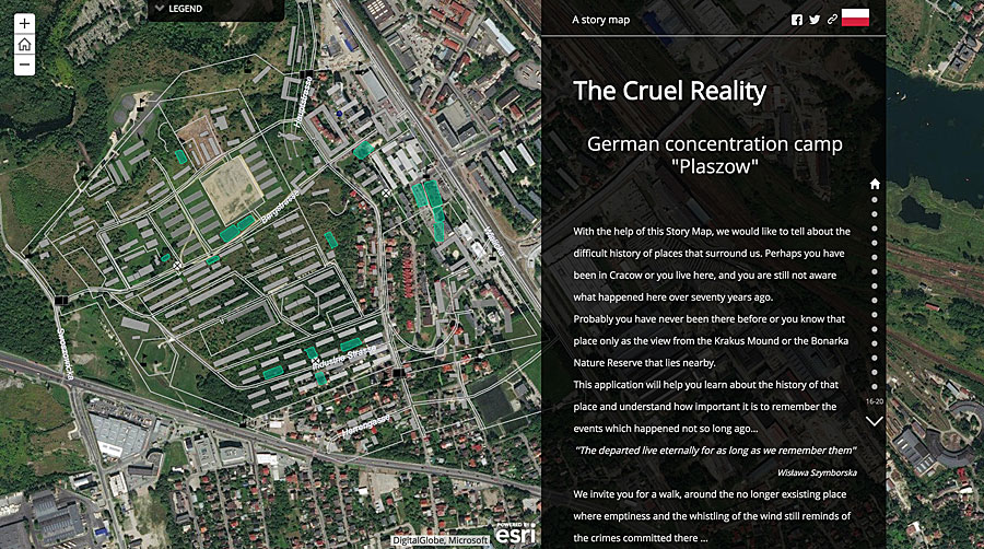 Polish students Anna Kurylowicz and Marzena Koziak used historical photos, imagery, and maps to tell the story of the Płaszów concentration camp.